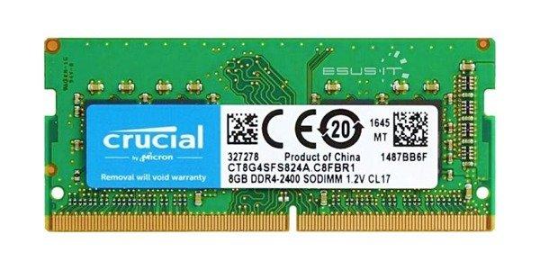 Memory RAM 1x 8GB Crucial SO-DIMM DDR4 2400MHz PC4-19200 | CT8G4SFS824A