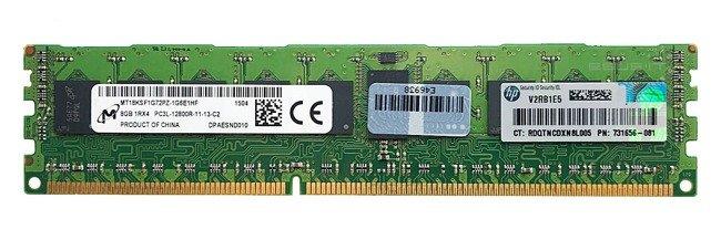 Memory RAM 1x 8GB Micron ECC REGISTERED DDR3  1600MHz PC3-12800 RDIMM | MT18KSF1G72PZ-1G6